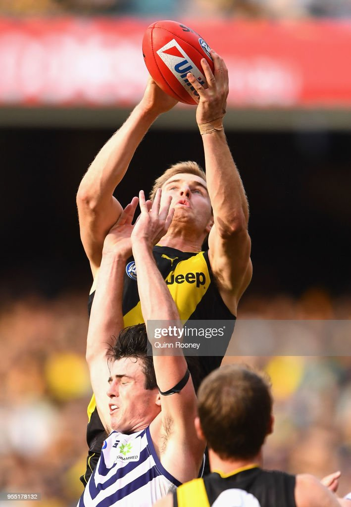 David Astbury of the Tigers marks during the round seven AFL match between the Richmond Tigers and the Fremantle Dockers at Melbourne Cricket Ground on May 6, 2018 in Melbourne, Australia.