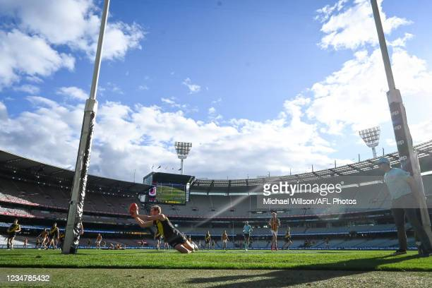 David Astbury of the Tigers touches the ball over the line during the 2021 AFL Round 23 match between the Richmond Tigers and the Hawthorn Hawks at...