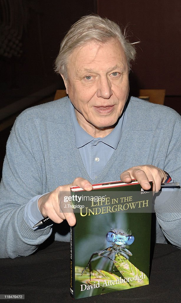 """David Attenborough Signs His Book """"Life in the Undergrowth"""" at the Natural"""