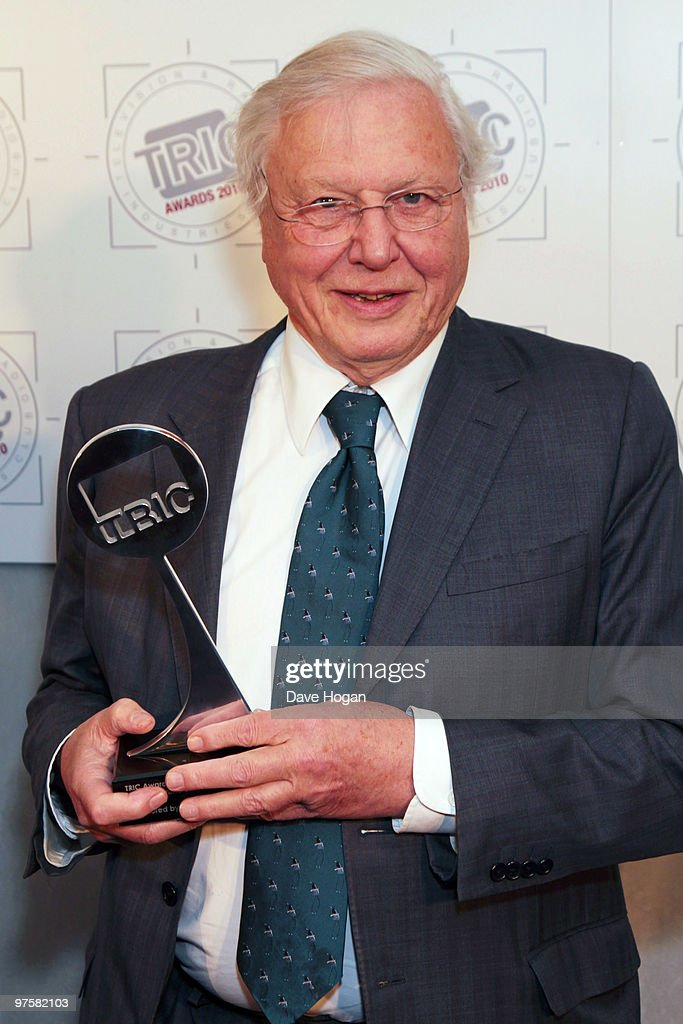 David Attenborough poses with the best HD programe award in the press room at the TRIC Awards 2010 held at The Grosvenor House Hotel on March 9, 2010 in London, England.