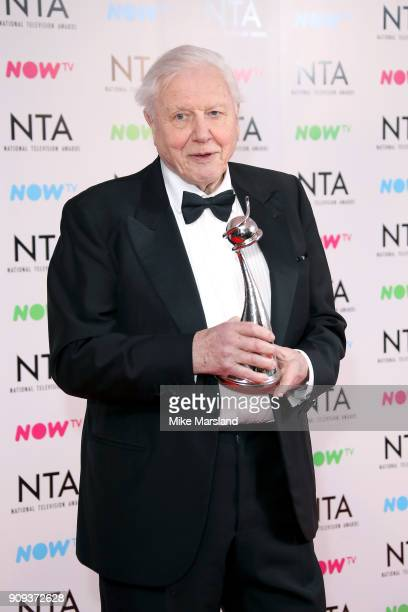 David Attenborough poses with the Impact Award for 'Blue Planet II' at the National Television Awards 2018 at The O2 Arena on January 23 2018 in...