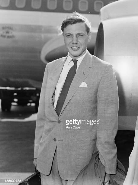David Attenborough presenter of the BBC's 'Zoo Quest' nature documentaries at London Airport before a flight to the South Pacific 8th September 1959