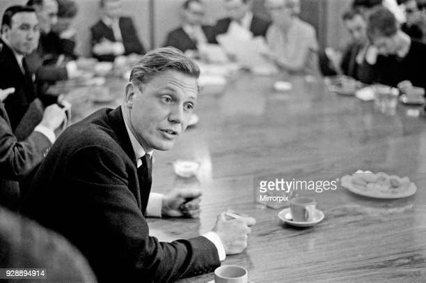 David Attenborough speaking at a BBC Conference. He is explaining that the launch of BBC2 North will be put back 2 weeks, from 17th October 1965, to...