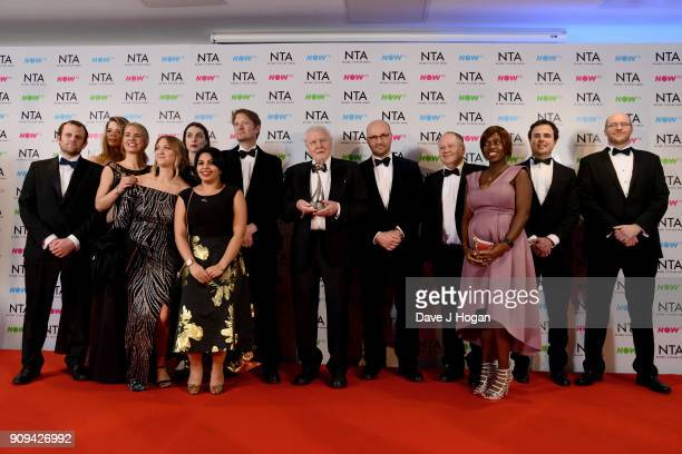 David Attenborough winner of the Impact Award for Blue Planet II attends the National Television Awards 2018 at The O2 Arena on January 23 2018 in...