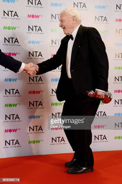 David Attenborough with the Impact Award for Blue Planet II at the National Television Awards 2018 at The O2 Arena on January 23 2018 in London...