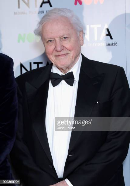 David Attenborough with the Impact Award for 'Blue Planet II' during the National Television Awards 2018 at the O2 Arena on January 23 2018 in London...