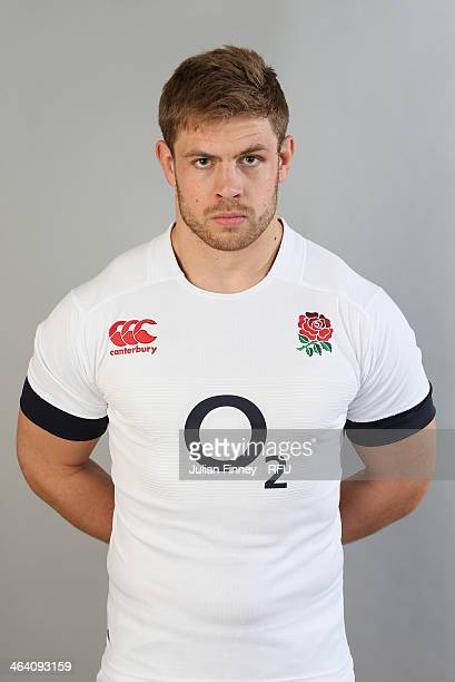 David Attwood of England poses for a portrait during the England Six Nations Squad Photo Call at the Penny Hill Hotel on January 20 2014 in Bagshot...