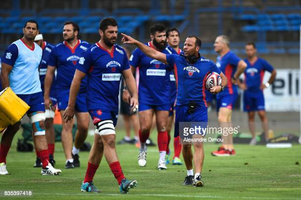 David Aucagne Coach of Beziers during the Pro D2 match between Beziers and RC Vannes at on August 18, 2017 in Beziers, France.