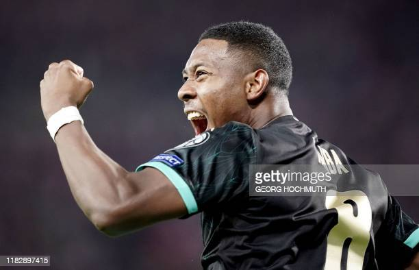David Austria's midfielder David Alaba celebrates after scoring during the UEFA Euro 2020 Group G qualification football match between Austria and...