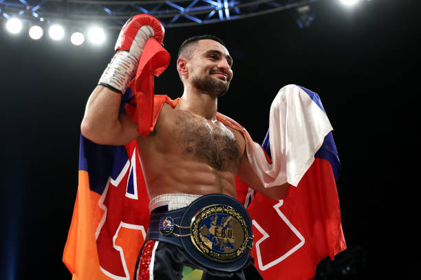 David Avanesyan celebrates victory in the EBU European Welterweight Title fight between David Avanesyan and Liam Taylor at SSE Arena on October 02,...