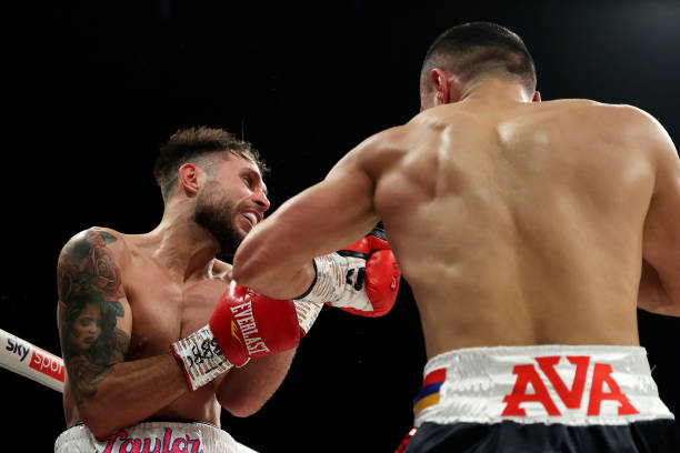 David Avanesyan throws a left shot during the EBU European Welterweight Title fight between David Avanesyan and Liam Taylor at SSE Arena on October...