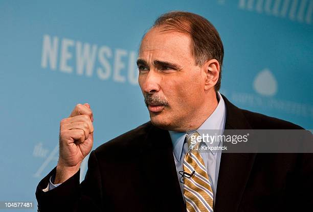 David Axelrod assistant to US President Barack Obama and senior advisor speaks during the Washington Ideas Forum at the Newseum on September 30 2010...