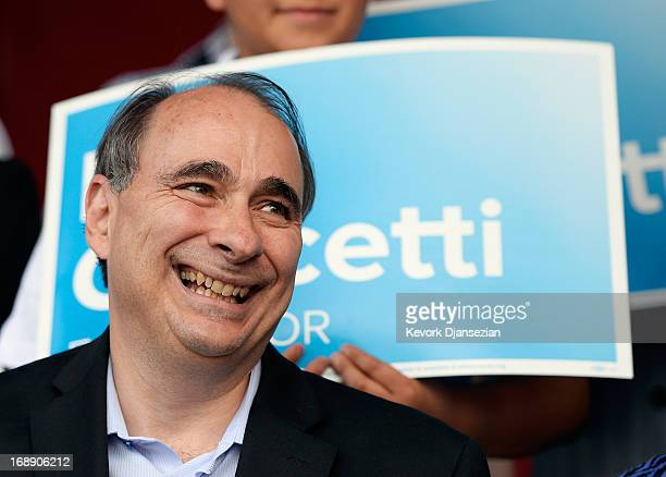 David Axelrod political adviser to President Barack Obama attends a campaign rally for Los Angeles Mayoral candidate and City Councilman Eric...