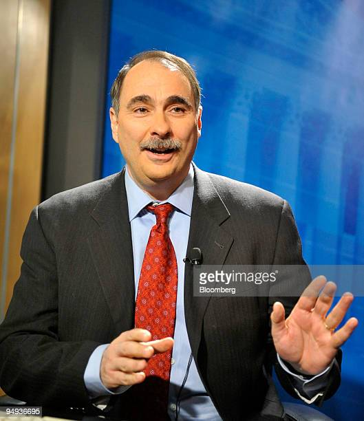 David Axelrod senior advisor to President Obama is interviewed in the Bloomberg News bureau in Washington DC US on Jan 30 2009