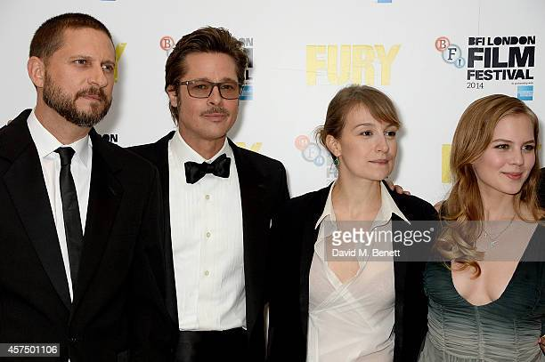 David Ayer Brad Pitt Anamaria Marinca and Alicia von Rittberg attend the closing night Gala screening of 'Fury' during the 58th BFI London Film...