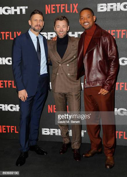 """David Ayer, Joel Edgerton and Will Smith attend the European Premeire of """"Bright"""" held at BFI Southbank on December 15, 2017 in London, England."""