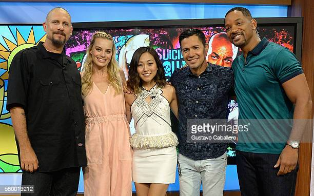 """David Ayer, Margot Robbie, Karen Fukuhara, Jay Hernandez and Will Smith on the set of Univisions """"Despierta America"""" to support the film """"suicide..."""