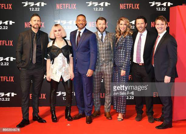 David Ayer Noomi Rapace Will Smith Joel Edgerton Dawn Olivieri Eric Newman and Bryan Unkeless attend the premier event of 'Bright' at Roppongi Hills...