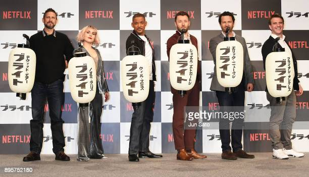 David Ayer Noomi Rapace Will Smith Joel Edgerton Eric Newman and Bryan Unkeless attend the press conference for 'Bright' at the RitzCarlton on...