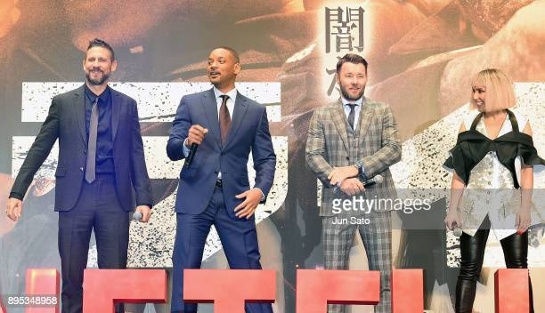 David Ayer Will Smith Noomi Rapace and Joel Edgerton attend the premier event of 'Bright' at Roppongi Hills on December 19 2017 in Tokyo Japan