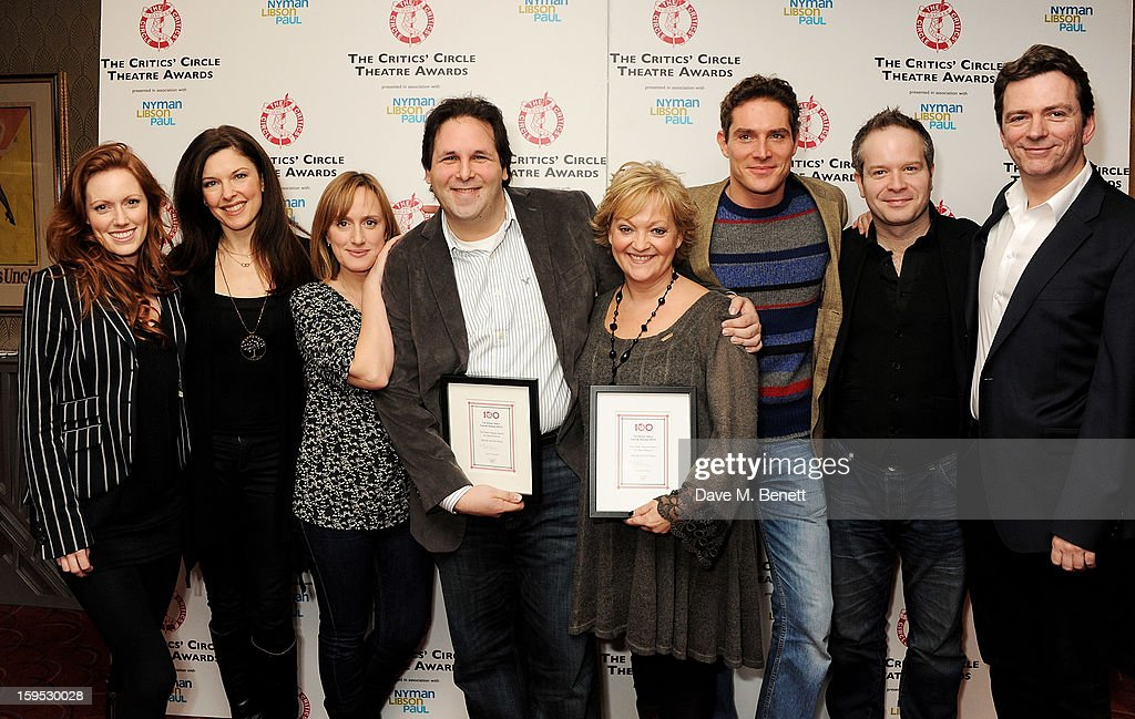 David Babani (4L) and Maria Friedman (4R), accept the Peter Hepple Award for Best Musical on behalf of 'Merrily We Roll Along', with cast members Clare Foster, Josefina Gabrielle, Jenna Russell, Mark Umbers, Damian Humbley and Glyn Kerslake at the 2013 Critics' Circle Theatre Awards at the Prince Of Wales Theatre on January 15, 2013 in London, England.