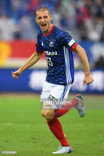 David Babunski of Yokohama FMarinos celebrates scoring the opening goal during the JLeague J1 match between Yokohama FMarinos and Cerezo Osaka at...