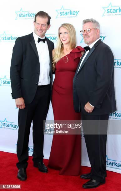 David Backes Kelly Backes and Brady Forseth pose on the red carpet at the 2017 Starkey Hearing Foundation So the World May Hear Awards Gala at the...