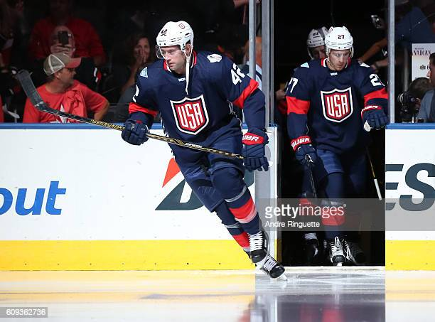 David Backes of Team USA takes to the ice prior to the game against Team Canada during the World Cup of Hockey 2016 at Air Canada Centre on September...