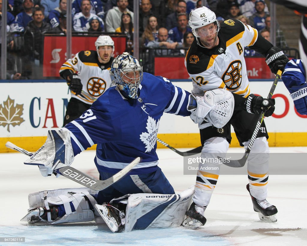 David Backes #42 of the Boston Bruins battles against goalie Frederik Andersen #31 of the Toronto Maple Leafs in Game Three of the Eastern Conference First Round during the 2018 Stanley Cup Play-offs at the Air Canada Centre on April 16, 2018 in Toronto, Ontario, Canada. The Maple Leafs defeated the Bruins 4-2.