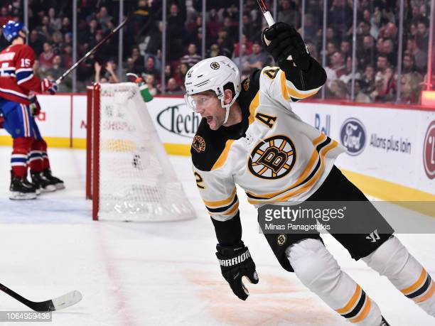 David Backes of the Boston Bruins celebrates his first period goal against the Montreal Canadiens during the NHL game at the Bell Centre on November...