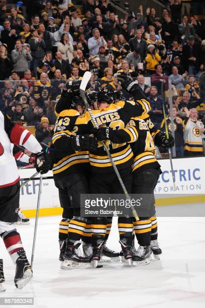 David Backes of the Boston Bruins celebrates his second goal in the second period against the Arizona Coyotes at the TD Garden on December 7 2017 in...