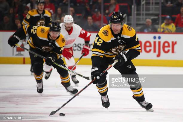 David Backes of the Boston Bruins heads up ice during the first period while playing the Detroit Red Wings at Little Caesars Arena on November 21...