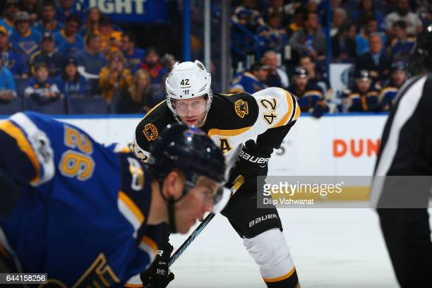 David Backes of the Boston Bruins lines up for a face off against the St Louis Blues at the Scottrade Center on January 10 2017 in St Louis Missouri