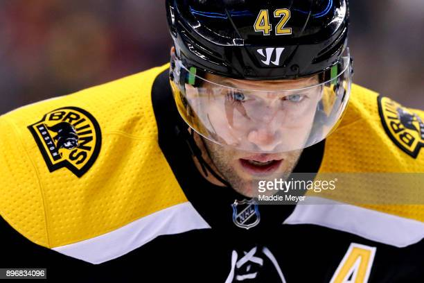 David Backes of the Boston Bruins looks on during the first period against the Winnipeg Jets at TD Garden on December 21 2017 in Boston Massachusetts
