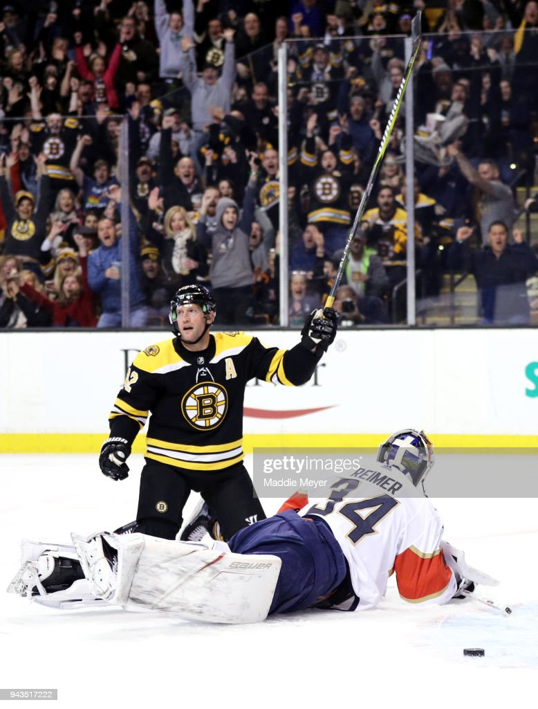 David Backes #42 of the Boston Bruins reacts after scoring against James Reimer #34 of the Florida Panthers during the first period at TD Garden on April 8, 2018 in Boston, Massachusetts.