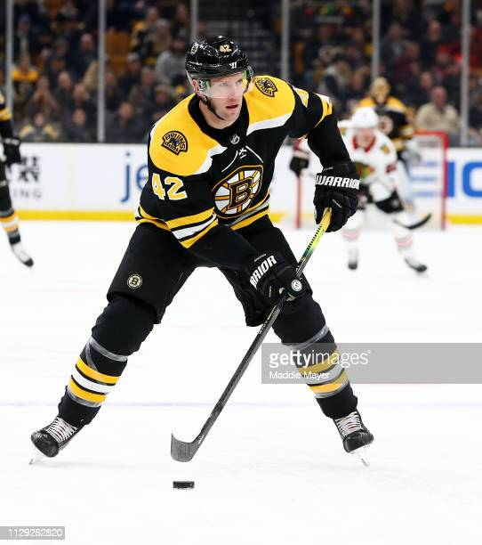David Backes of the Boston Bruins skates against the Chicago Blackhawks during the third period at TD Garden on February 12 2019 in Boston...