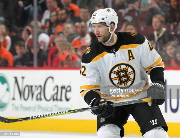 David Backes of the Boston Bruins skates against the Philadelphia Flyers on April 1 2018 at the Wells Fargo Center in Philadelphia Pennsylvania