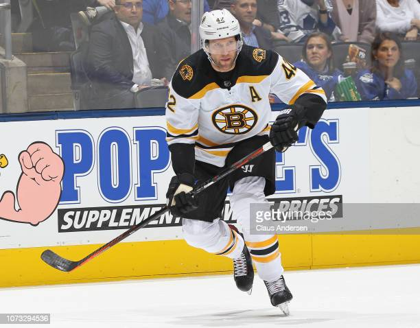 David Backes of the Boston Bruins skates against the Toronto Maple Leafs during an NHL game at Scotiabank Arena on November 26 2018 in Toronto...