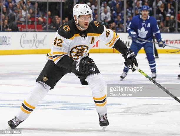 David Backes of the Boston Bruins skates against the Toronto Maple Leafs in Game Three of the Eastern Conference First Round during the 2019 NHL...