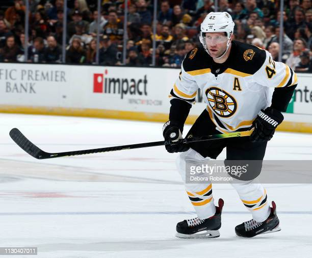 David Backes of the Boston Bruins skates during the game against the Anaheim Ducks on February 15 2019 at Honda Center in Anaheim California