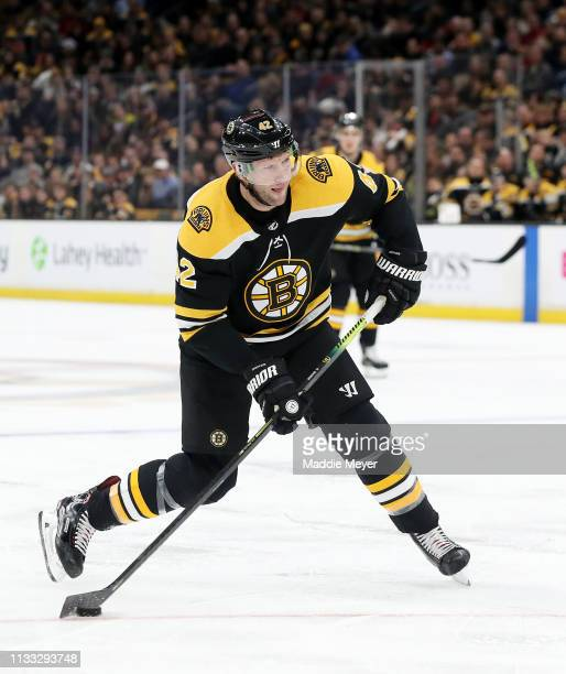 David Backes of the Boston Bruins takes a shot against the New Jersey Devils during the third period at TD Garden on March 02 2019 in Boston...