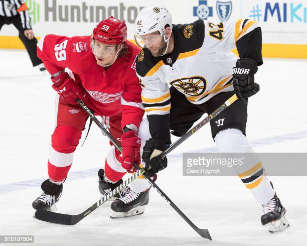 David Backes of the Boston Bruins waits for the face off with Tyler Bertuzzi of the Detroit Red Wings during an NHL game at Little Caesars Arena on...