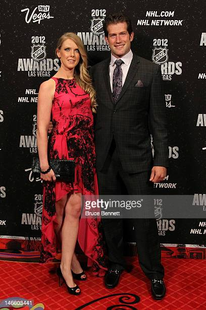 David Backes of the St Louis Blues arrives with his wife Kelly before the 2012 NHL Awards at the Encore Theater at the Wynn Las Vegas on June 20 2012...