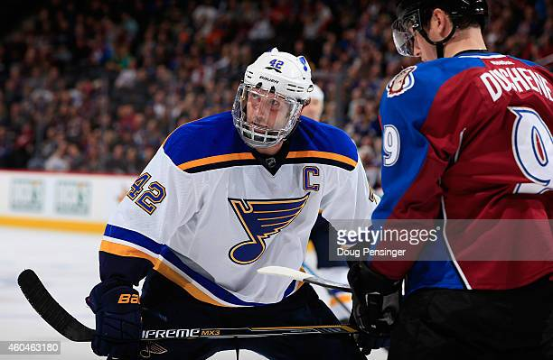 David Backes of the St Louis Blues awaits a face off against Matt Duchene of the Colorado Avalanche at Pepsi Center on December 13 2014 in Denver...