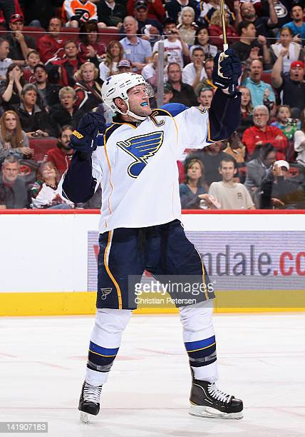 David Backes of the St Louis Blues celebrates after scoring a third period power play goal against the Phoenix Coyotes during the NHL game at...
