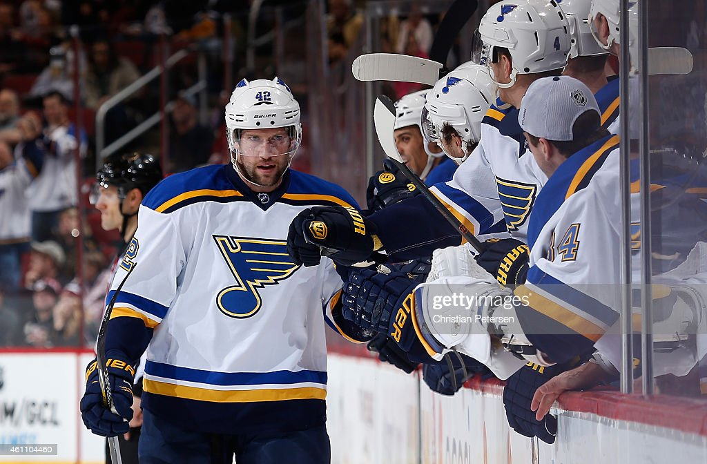 David Backes #42 of the St. Louis Blues celebrates with teammates on the bench after scoring a third period goal against the Arizona Coyotes during the NHL game at Gila River Arena on January 6, 2015 in Glendale, Arizona. The Blues defeated the Coyotes 6-0.