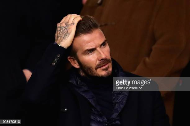 David Backham looks on during the UEFA Champions League Round of 16 Second Leg match between Paris SaintGermain and Real Madrid at Parc des Princes...