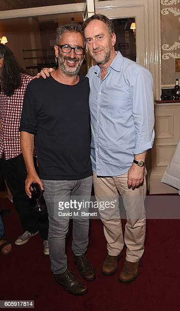 David Baddiel and Angus Deayton attend the press night after party for 'David Baddiel My Family Not The Sitcom' at the Vaudeville Theatre on...