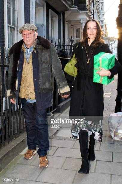 David Bailey and Catherine Dyer seen celebrating Kate Moss's 44th birthday at Mark's Club in Mayfair on January 16 2018 in London England