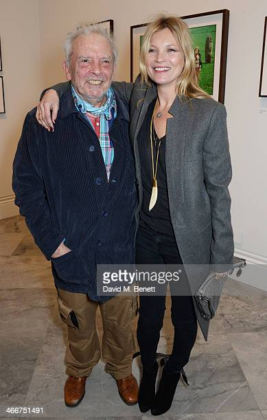 David Bailey and Kate Moss attend a private view of Bailey's Stardust a exhibition of images by David Bailey supported by Hugo Boss at the National...